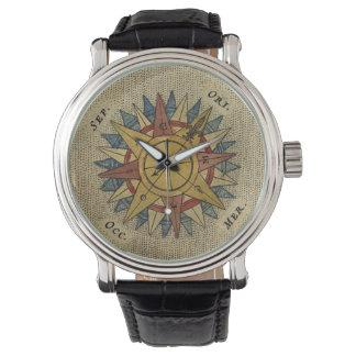 Reloj antiguo del compás del mapa