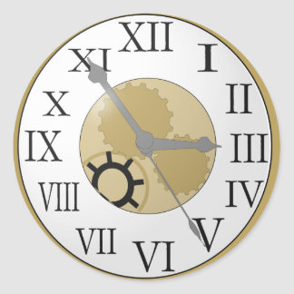 Reloj antiguo pegatina redonda