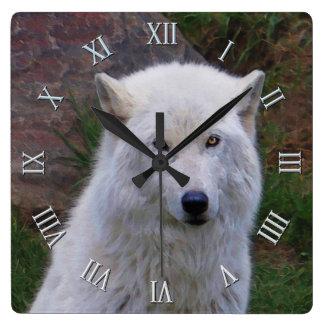 Reloj ártico blanco del arte de la fauna del lobo