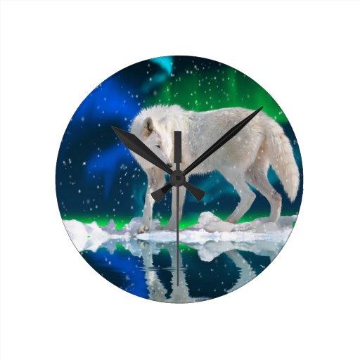 Reloj ártico del arte de la fauna del lobo, de la