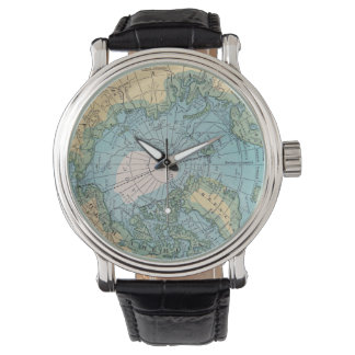 Reloj ártico del mapa del vintage