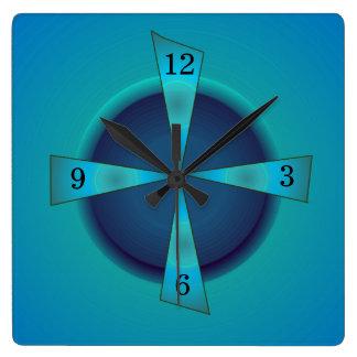 Reloj artístico del verde de mar y del azul > de