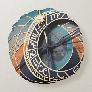 Reloj astrológico medieval antiguo Checo Cojín Redondo