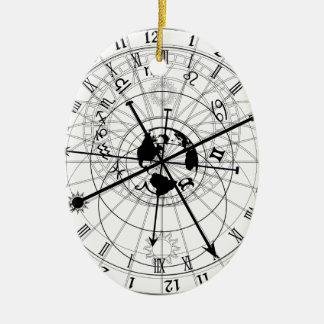 Reloj astronómico adorno navideño ovalado de cerámica