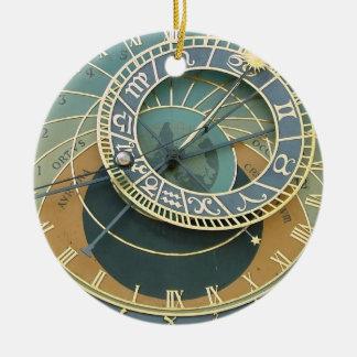 Reloj astronómico adorno navideño redondo de cerámica