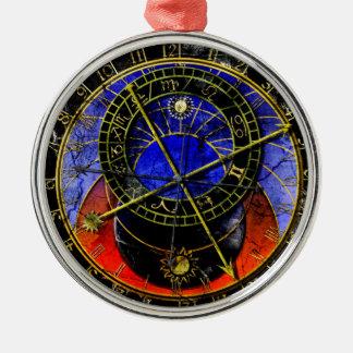 Reloj astronómico adorno navideño redondo de metal