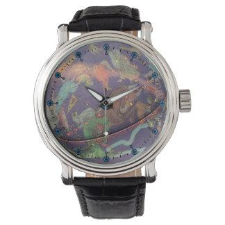 Reloj astronómico de la correa de cuero del globo