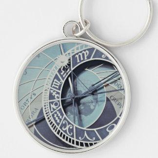 Reloj astronómico de Praga Llavero Redondo Plateado