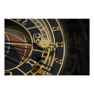 Reloj astronómico en Praga, República Checa Póster