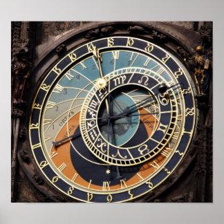 Reloj astronómico en Praque Poster