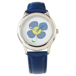 Reloj azul de la flor