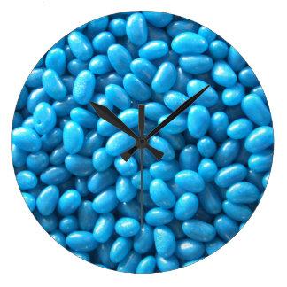 Reloj azul de la haba de jalea