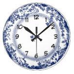 reloj azul de la placa de Delft del vintage bonito
