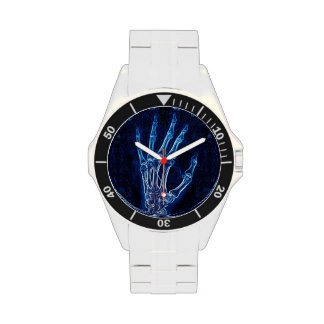 Reloj azul de la radiografía de la mano
