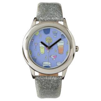 Reloj azul de las bebidas mezcladas