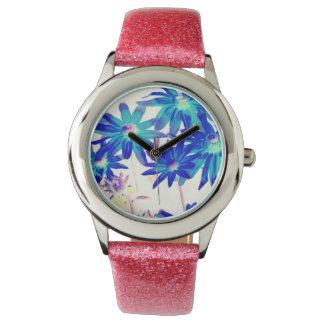 Reloj azul de las flores