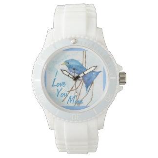 Reloj azul del amor del pájaro de la mamá