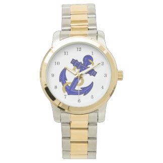 Reloj azul del ancla