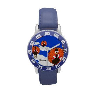Reloj azul del bisel de los niños de los pavos de