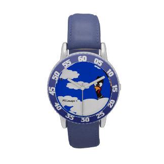 Reloj azul del bisel del niño de los pavos en vuel