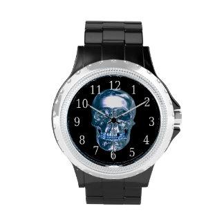 Reloj azul del cráneo del cromo