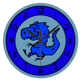 Reloj azul del dinosaurio o de pared del dragón