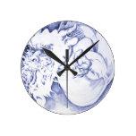 Reloj azul del dragón - elija la forma/el tamaño