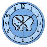 Reloj azul del elefante para el dormitorio de los