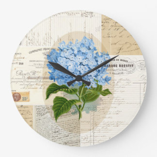 Reloj azul del francés del Hydrangea del vintage