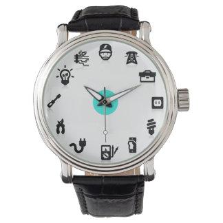 Reloj azul del punto de los iconos del trabajo