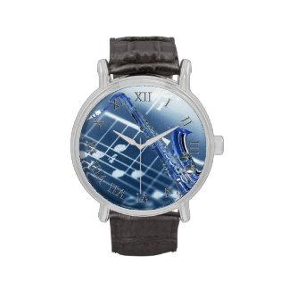 Reloj azul del saxofón