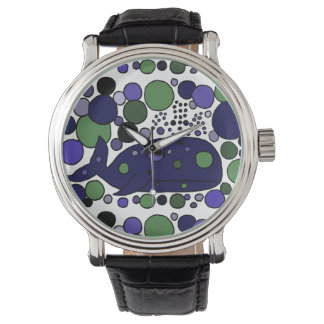 Reloj azul divertido del arte abstracto de la