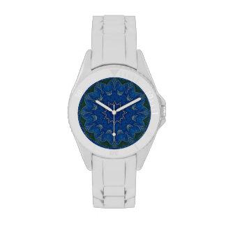 Reloj azul divino de la mandala de la flor deporti
