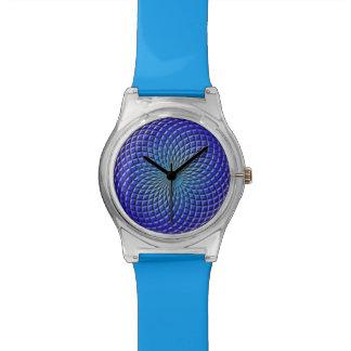 Reloj azul geométrico de la bola