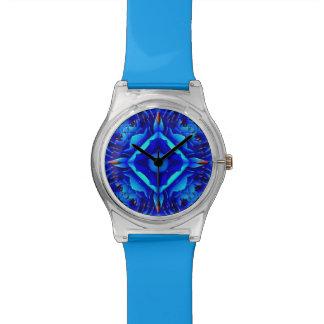 Reloj azul geométrico de la flor