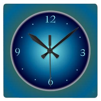 Reloj azul luminoso llano de Green>Wall