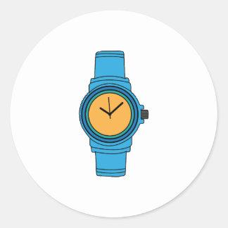 Reloj azul pegatina redonda