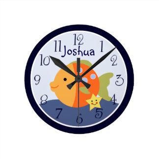 Reloj azul personalizado de la laguna/de los