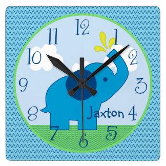 Reloj azul personalizado del cuarto de niños del e