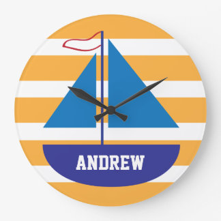 Reloj azul personalizado rayado anaranjado del vel