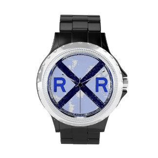 Reloj azul pintado de la muestra de la travesía de