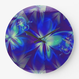 Reloj azul púrpura de la ilusión de la flor de Dig
