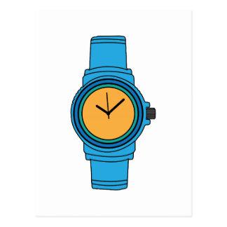 Reloj azul tarjeta postal