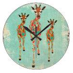 Reloj azul y ambarino del vintage de las jirafas