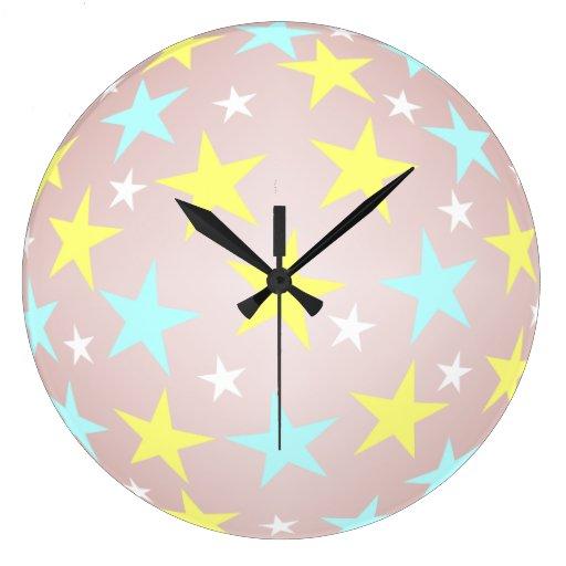 Reloj azul y blanco del limón de la estrella de pa