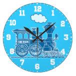 Reloj azul y blanco del tren del nombre de los niñ