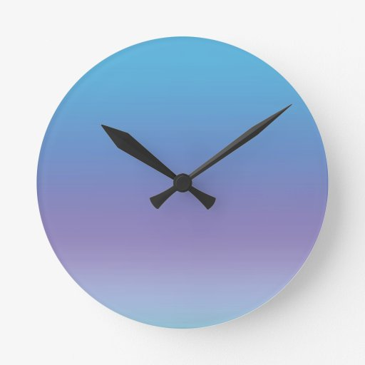 Reloj azul y púrpura de la pendiente de pared