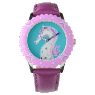 """Reloj, bisel con las cintas púrpuras, """"Seahorse Reloj"""