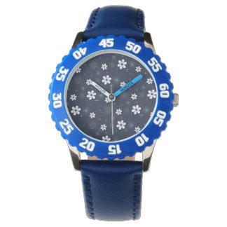 Reloj blanco azul retro del Rockabilly de la flor