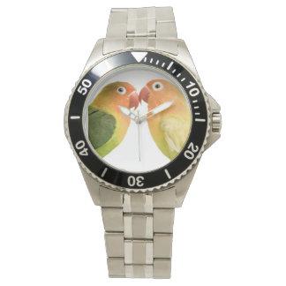 Reloj blanco de los pájaros del amor